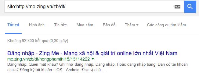 Zing Me không cho Google bot vào Me